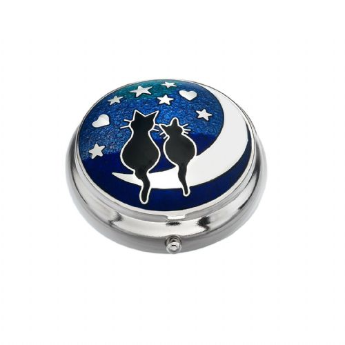 Pill Box Silver Plated Black Cat Cats on the Moon Design Brand New and Boxed